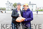 Committee members Maria O'Connell & Miriam Lyne replenishing stocks of fresh Scallop for the Valentia Island King Scallop Festival.