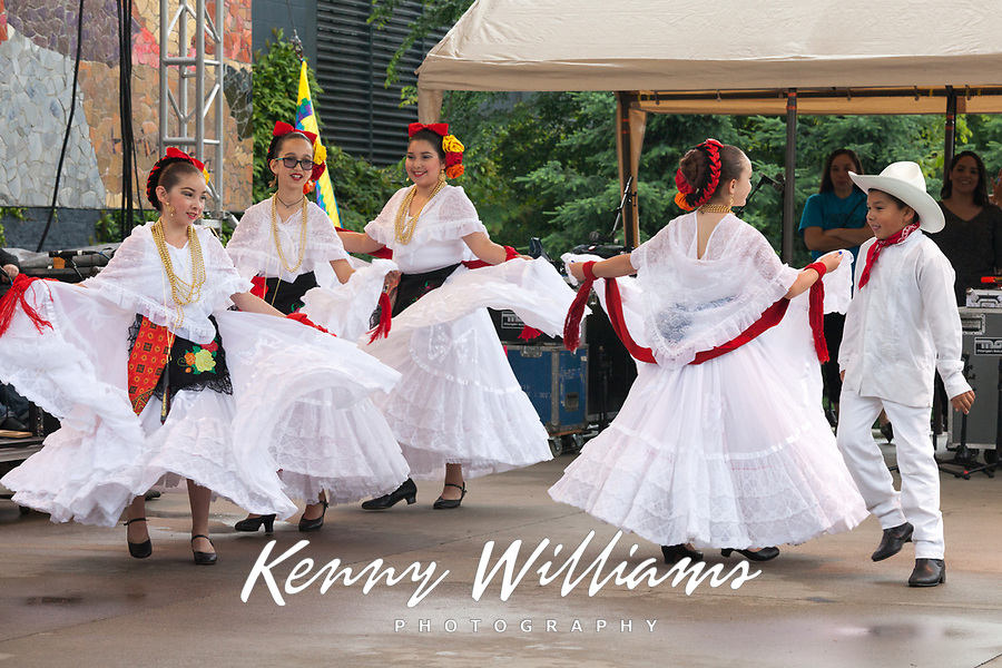 Girls dancing traditional Mexican folklore dance, Northwest Folklife Festival 2016, Seattle Center, Washington, USA.