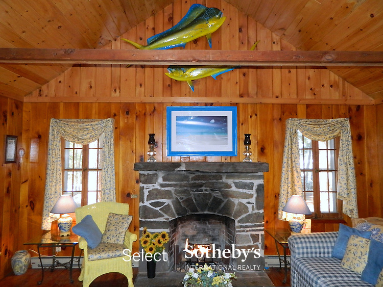Gas Fireplace in Living Room which Overlooks the Lake