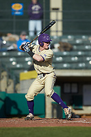 Justice Bigbie (7) of the Western Carolina Catamounts at bat against the Saint Joseph's Hawks at TicketReturn.com Field at Pelicans Ballpark on February 23, 2020 in Myrtle Beach, South Carolina. The Hawks defeated the Catamounts 9-2. (Brian Westerholt/Four Seam Images)