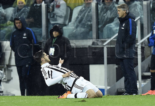 28.02.2016. Juventus Stadium, Turin, Italy. Serie A Football. Juventus versus Inter Milan. Penalty kick goal celebrations by Alvaro Morata (Juve) for 2-0