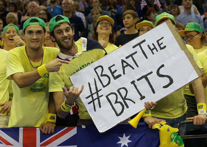 Australian fans jubilant after watching Bernard Tomic defeat Dan Evans<br /> <br /> Photographer Stephen White/CameraSport<br /> <br /> International Tennis - 2015 Davis Cup by BNP Paribas - World Group Semi-Final - Great Britain v Australia - Day 1 - Friday 18th September 2015 - The Emirates Arena - Glasgow<br /> <br /> &copy; CameraSport - 43 Linden Ave. Countesthorpe. Leicester. England. LE8 5PG - Tel: +44 (0) 116 277 4147 - admin@camerasport.com - www.camerasport.com.