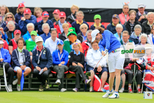 Leona Maguire during Sunday Singles matches at the 2016 Curtis cup from Dun Laoghaire Golf Club, Ballyman Rd, Enniskerry, Co. Wicklow, Ireland. 12/06/2016.<br /> Picture Fran Caffrey / Golffile.ie<br /> <br /> All photo usage must carry mandatory copyright credit (&copy; Golffile | Fran Caffrey)
