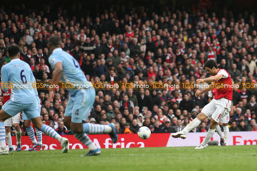 Mikel Arteta of Arsenal scores the opening goal -  Arsenal - Manchester City at the Emirates Stadium - 08/04/12 - MANDATORY CREDIT: Dave Simpson/TGSPHOTO - Self billing applies where appropriate - 0845 094 6026 - contact@tgsphoto.co.uk - NO UNPAID USE.