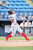 Lakewood BlueClaws Malvin Matos (33) swings at a pitch during a game against the Asheville Tourists at McCormick Field on August 5, 2019 in Asheville, North Carolina. The BlueClaws defeated the Tourists 4-2. (Tony Farlow/Four Seam Images)