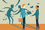 Illustrative image of businessman misleading colleague representing fraud