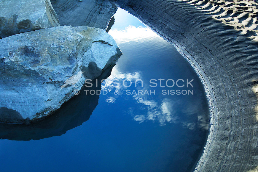 Cloud reflection detail in river pond. Rakaia River, Canterbury NZ