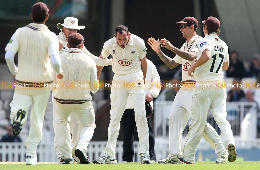 Timothy Linley of Surrey claims the wicket of Chris Nash of Sussex lbw and celebrates - Surrey CCC vs Sussex CCC, LV County Championship Division 1 at The Kia Oval, Kennington - 25/04/13 - MANDATORY CREDIT: Rob Newell/TGSPHOTO - Self billing applies where appropriate - 0845 094 6026 - contact@tgsphoto.co.uk - NO UNPAID USE.