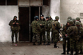 Moscow, Russia.October 28, 2002..Russian military forces keep up a very heavy guard on the theater where some 850 hostages where held for three days by Chechen rebels who threatened to blow up the building before being freed by Russian Elite forces...After a siege of two and a half days, Russian OSNAZ raided the building after pumping a mysterious chemical agent into the building's ventilation system. All of the terrorists were killed by Russian forces, along with at least 129 of the hostages. There were conceivably more than 200 civilian deaths.