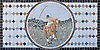 """22"""" x 44"""" Rider and Horse playing polo tumbled and honed mosaic"""