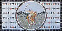 "22"" x 44"" Rider and Horse playing polo tumbled and honed mosaic"