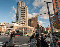The corner of the Bowery and East 3rd Street in the East Village in New York on Sunday, January 29, 2017 showing high-rise development. (© Richard B. Levine)