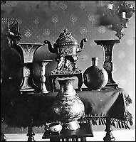 BNPS.co.uk (01202) 558833Pic: CanterburyAuction/BNPS<br /> <br /> An old photo of the bronzes including one of the two elephant censers.<br /> <br /> A Chinese relic looted from the Summer Palace by a British army officer 158 years ago has sold for more than half a million pounds after it was found in the attic of an unassuming English house.<br /> <br /> The 3,500 year old sacred Chinese bronze water vessel is one of seven known to exist, with five in museums, but Chinese officials said the stolen antiquity should be returned to China.<br /> <br /> The rare item was taken by Captain Harry Lewis Evans when the British and French arrived at the Emperor's Summer Palace in Peking - now Beijing - during the Second Opium War.<br /> <br /> Capt Evans wrote letters home describing the mystical palace and the looting of its treasures that took place in 1860.<br /> <br /> Along with the rare Tiger Ying, three other Chinese bronzes sold which brought the total to &pound;549,320 including premiums.<br /> <br /> China's State Administration of Cultural Heritage is believed to have said it was looking into the auction and opposed the sale and purchase of illegal cultural relics.
