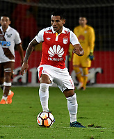 BOGOTA - COLOMBIA - 20 – 02 - 2018: Wilson Morelo, jugador de Independiente Santa Fe en accion durante partido de vuelta entre Independiente Santa Fe (COL) y Santiago Wanderers (CHL), de la fase 3 llave 1, por la Copa Conmebol Libertadores 2018, jugado en el estadio Nemesio Camcho El Campin de la ciudad de Bogota. / Wilson Morelo, player of Independiente Santa Fe, in action during a match for the second leg between Independiente Santa Fe (COL) and Santiago Wanderers (CHL), of the 3rd phase key 1, for the Copa Conmebol Libertadores 2018 at the Nemesio Camacho El Campin Stadium in Bogota city. Photo: VizzorImage  / Luis Ramirez / Staff.