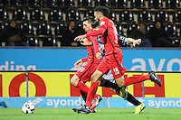 Cagatay Kader (FSV Frankfurt) gegen Furkan Zorba (Eintracht Frankfurt) und Michael Hector (Eintracht Frankfurt)- 10.11.2016: FSV Frankfurt vs. Eintracht Frankfurt, Frankfurter Volksbank Stadion