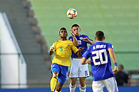 31st October 2019; Bezerrao Stadium, Brasilia, Distrito Federal, Brazil; FIFA U-17 World Cup Brazil 2019, Solomon Islands versus Paraguay; Javin Alick of Solomon Islands and Fabrizio Peralta of Paraguay - Editorial Use