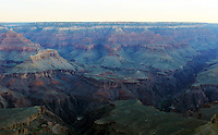 A view of rock formations at Grand Canyon, Arizona at sunrise from the Yavapai Point, in South rim.