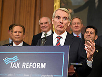 United States Senator Rob Portman (Republican of Ohio) makes remarks as US Senate and House Republicans announce their new tax plan endorsed by US President Donald J. Trump in the US Capitol in Washington, DC on Wednesday, September 27, 2017. Photo Credit: Ron Sachs/CNP/AdMedia