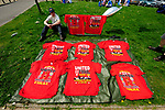 Souvenir t-shirts on sale outside the ground during the Premier League match at The JJB Stadium, Wigan. Picture date 11th May 2008. Picture credit should read: Simon Bellis/Sportimage