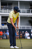 Scott Harrington (USA) watches his putt on 18 during round 4 of the 2019 Houston Open, Golf Club of Houston, Houston, Texas, USA. 10/13/2019.<br /> Picture Ken Murray / Golffile.ie<br /> <br /> All photo usage must carry mandatory copyright credit (© Golffile | Ken Murray)
