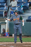 Charlie White #5 of the Boise Hawks bats against the Everett AquaSox at Everett Memorial Stadium on July 25, 2014 in Everett, Washington. Everett defeated Boise, 2-1. (Larry Goren/Four Seam Images)
