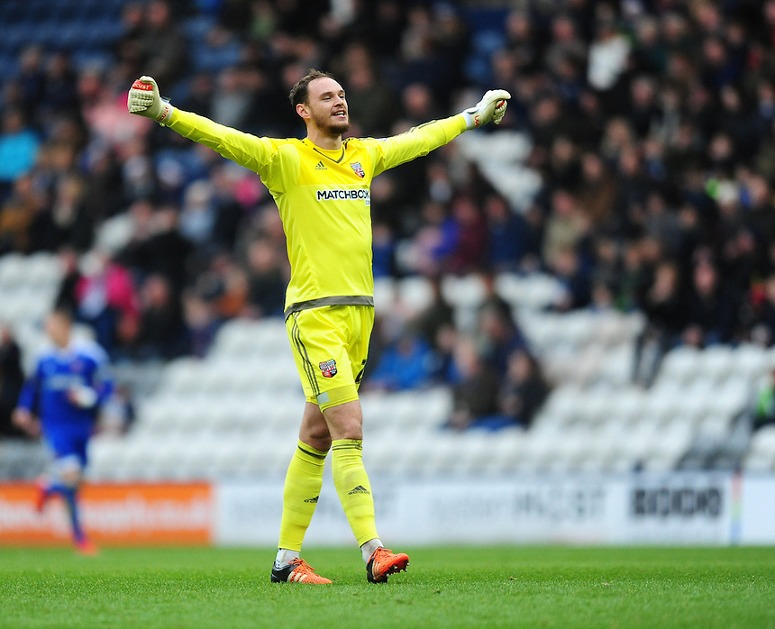 Brentford's David Button celebrates after team-mate Jake Bidwell scored the opening goal of the game<br /> <br /> Photographer Chris Vaughan/CameraSport<br /> <br /> Football - The Football League Sky Bet Championship - Preston North End v Brentford - Saturday 23rd January 2016 -  Deepdale - Preston<br /> <br /> &copy; CameraSport - 43 Linden Ave. Countesthorpe. Leicester. England. LE8 5PG - Tel: +44 (0) 116 277 4147 - admin@camerasport.com - www.camerasport.com