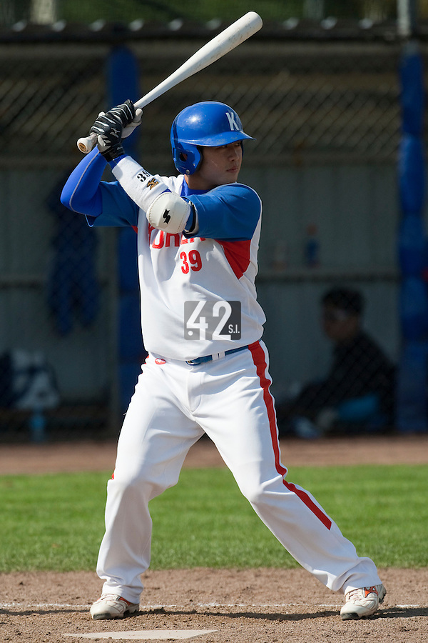 14 September 2009: Hee-Keun Lee of South Korea is seen at bat during the 2009 Baseball World Cup Group F second round match game won 15-5 by South Korea over Great Britain, in the Dutch city of Amsterdan, Netherlands.