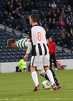 Shaun Byrne pressures John Herronin the Dunfermline Athletic v Celtic Scottish Football Association Youth Cup Final match played at Hampden Park, Glasgow on 1.5.13. ..