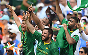 June 18th 2017, The Kia Oval, London, England;  ICC Champions Trophy Cricket Final; India versus Pakistan; Pakistan supporters celebrate Babar Azam of Pakistan hitting a 4