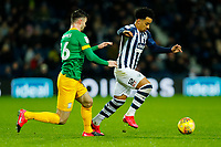 25th February 2020; The Hawthorns, West Bromwich, West Midlands, England; English Championship Football, West Bromwich Albion versus Preston North End; Matheus Pereira of West Bromwich Albion goes past Andrew Hughes of Preston North End
