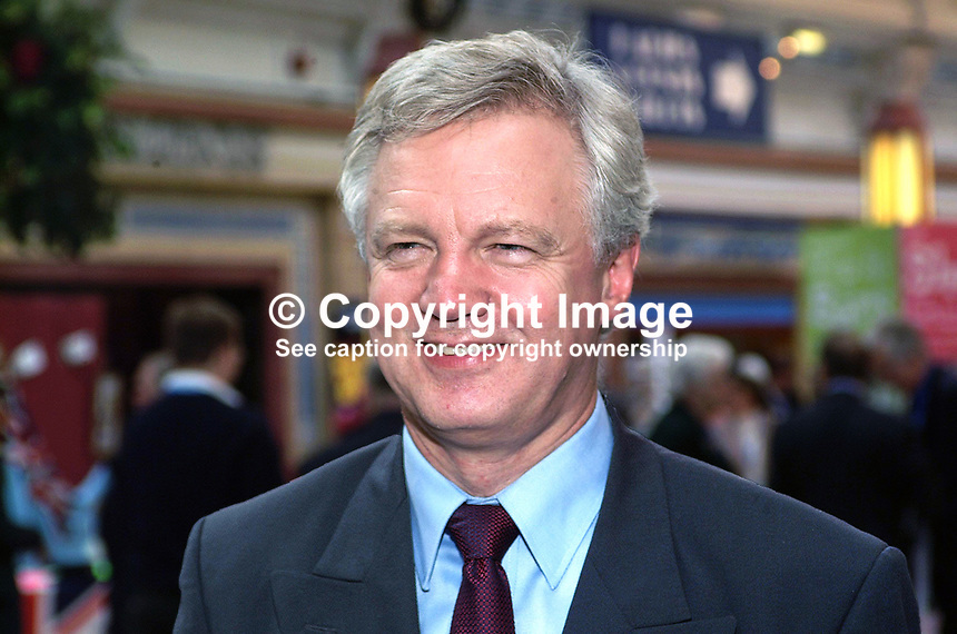 David Davis, Conservative Party, MP, England, UK, former minister. Taken at Annual Conference, Blackpool. Ref: 200110084034.<br />