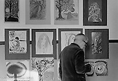 Harry Herring, art teacher, Art room, Summerhill school, Leiston, Suffolk, UK. 1968.