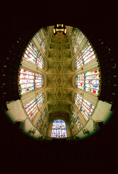 Fish eye view of the stained glass windows and roof of King's College Chapel, Cambrige, England
