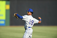 Kingsport Mets Sebastian Espino (29) warms up prior to a game against the Elizabethton Twins at Northeast Community Credit Union Ballpark on July 5, 2019 in Elizabethton, Tennessee. The Twins defeated the Mets 7-1. (Tracy Proffitt/Four Seam Images)