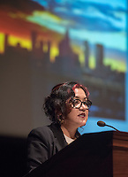 Dr. Martha Gonzalez presents the first CSP Lecture of the 2016-17 academic year on Friday, Sept. 9, 2016 in Thorne Hall.<br /> Martha Gonzalez was born and raised in East Los Angeles and is a Chicana artivista (artist/activist) and feminist music theorist. Gonzalez earned a PhD in Feminism from the University of Washington Seattle. In addition, Gonzalez holds an undergraduate degree in Ethnomusicology from the University of California Los Angeles. Her academic interest in music has been fueled by her own musicianship as a singer and percussionist for East L.A's Quetzal for the last 17 years. Quetzal's album Imaginaries received a Grammy award in 2013. Dr. Gonzalez is currently an Assistant Professor at Scripps College in the Claremont Colleges' Intercollegiate Chicano/a-Latino/a Studies Department.<br /> (Photo by Marc Campos, Occidental College Photographer)