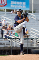 Jared Miller (40) of the Hillsboro Hops delivers a pitch during a game against the Everett Aquasox at Everett Memorial Stadium in Everett, Washington on July 5, 2015.  Hillsboro defeated Everett 11-4. (Ronnie Allen/Four Seam Images)
