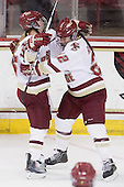 Kelli Stack (BC - 16), Mary Restuccia (BC - 22) - The Boston College Eagles defeated the Boston University Terriers 2-1 in the opening round of the Beanpot on Tuesday, February 8, 2011, at Conte Forum in Chestnut Hill, Massachusetts.