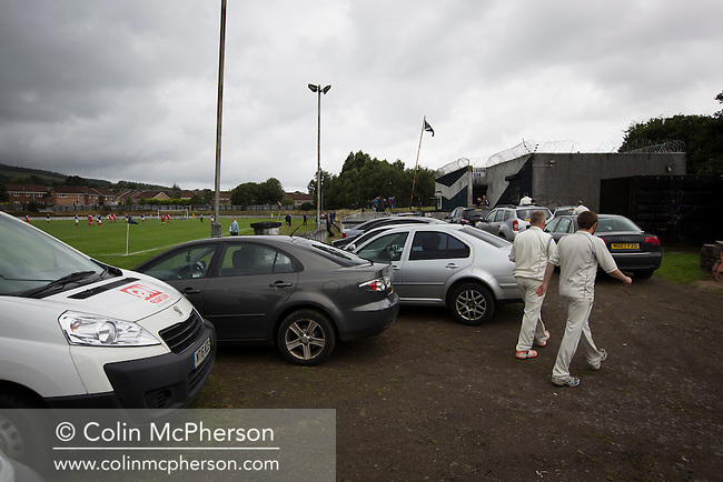 Cricketers from the neighbouring club which shares facilities at Millburn Park, Alexandria, pictured as Vale of Leven hosted Ashfield in a West of Scotland League Central District Second Division Junior fixture. Vale of Leven were one of the founder members of the Scottish League in 1890 and remained part of the SFA and League structure until 1929 when the original club folded, only to be resurrected as a member of the Scottish Junior Football Association after World War II. They lost the match to Ashfield by 4-3, having led 3-1 with 10 minutes remaining.