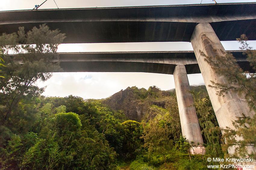 Underview of H-3 freeway in Haiku valley, Kaneohe, Oahu