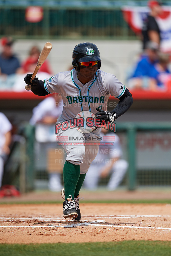 Daytona Tortugas second baseman Dilson Herrera (2) runs to first base during a game against the Florida Fire Frogs on April 8, 2018 at Osceola County Stadium in Kissimmee, Florida.  Daytona defeated Florida 2-1.  (Mike Janes/Four Seam Images)