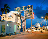 USA, Florida, fishing bait and tackle store at dusk, Bud N' Mary's Marina, Islamorada