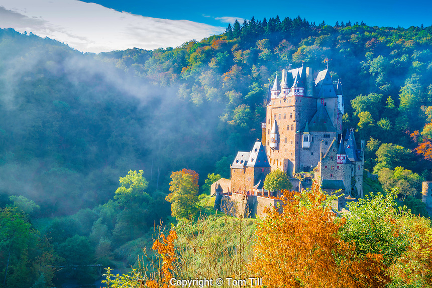 Eltz Castle and morning fog, Moselle River, Rhineland, Germany 12th Century Castle