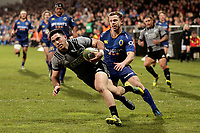 Nehe Milner-Skudder scores during the Game of Three Halves match between the NZ All Blacks and Otago at AMI Stadium in Christchurch, New Zealand on Friday, 10 August 2018. Photo: Martin Hunter / lintottphoto.co.nzz
