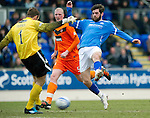 St Johnstone v Dundee United...11.02.12.. SPL.Dusan Pernis clears from Cillian Sheridan.Picture by Graeme Hart..Copyright Perthshire Picture Agency.Tel: 01738 623350  Mobile: 07990 594431