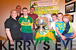 The Creedon family of Top of Coom with the Sam Maguire on Thursday last <br /> Front L-R Eileen, Tim, Christopher, Darragh, Tomas and Daniel Creedon with Aidan O'Mahony.