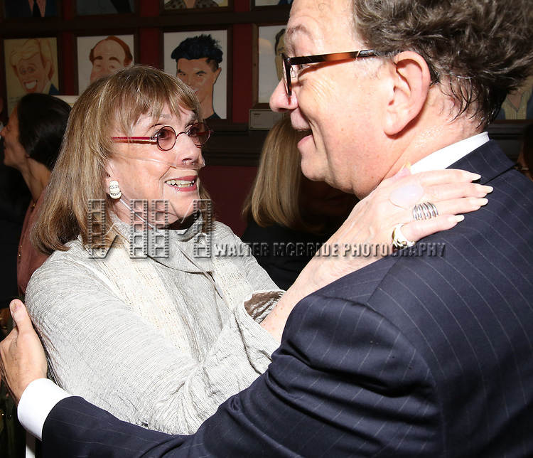 Phyllis Newman and William Ivey Long attend the William Ivey Long Sardi's portrait unveiling and 70th Birthday Party at Sardi's Restaurant on August 30, 2017 in New York City.