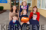 Students and teachers of Curranes National School unveil their new Defribrillator at the school on Tuesday.<br /> Kneeling l-r, Ben Brosnan, Emily Murphy and Kalem Egan.<br /> Back l-r, Ann Sugrue, Emer Nelligan (Principal) and Elizabeth Carmody.