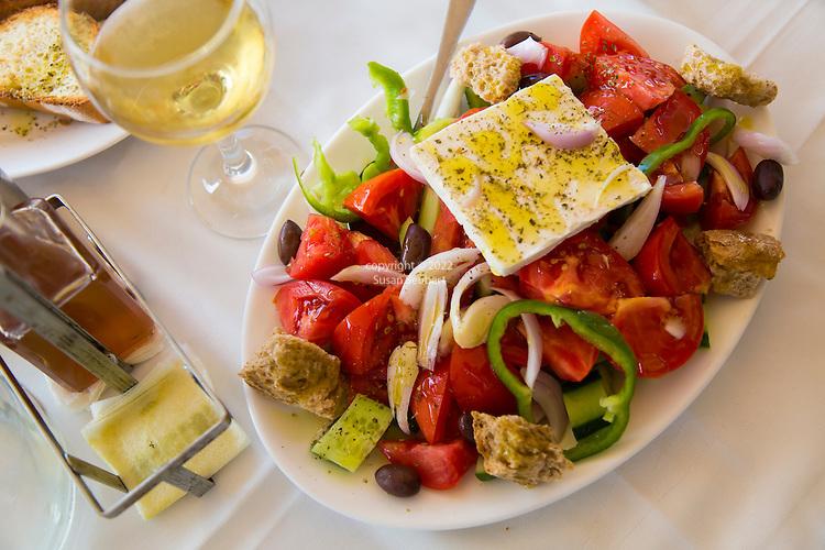 The traditional Greek salad at Akti Enoseos, Crete, Greece, Europe