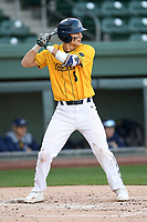 Second baseman Alex Haba (5) of the Merrimack Warriors in a game against the Michigan State Spartans on Saturday, February 22, 2020, at Fluor Field at the West End in Greenville, South Carolina. Merrimack won, 7-5. (Tom Priddy/Four Seam Images)
