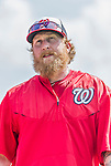 5 March 2015: Washington Nationals first baseman Mike Carp awaits his turn in the batting cage prior to a Spring Training game against the New York Mets at Space Coast Stadium in Viera, Florida. The Nationals rallied to defeat the Mets 5-4 in Grapefruit League play. Mandatory Credit: Ed Wolfstein Photo *** RAW (NEF) Image File Available ***